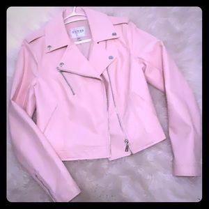 Cute pink leather jacket from Guess in good shape